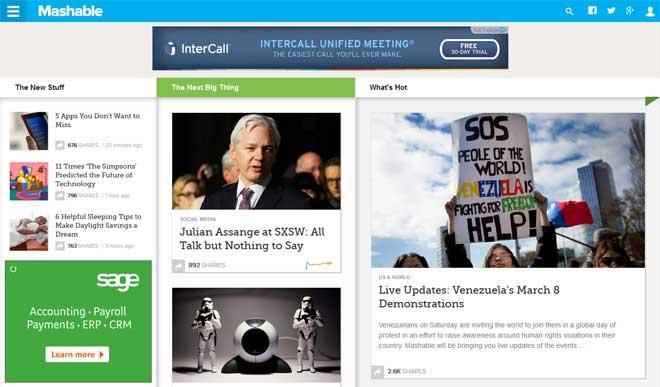 Mashable's Infinite Scrolling