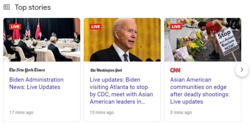 LIVE Top Stories results. All three of the top results are LIVE results.