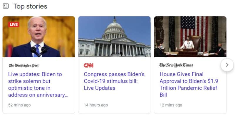"""Example of a Top Stories box with a """"LIVE"""" badge"""