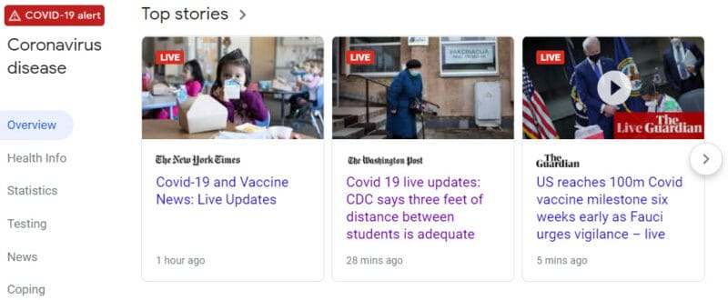 COVID-19 coverage often features LIVE updates