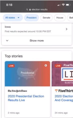 LIVE Top Stories results from New York Times and FiveThirtyEight during the 2020 Election