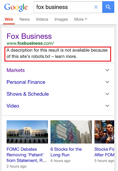 Fox Business Mobile SERP