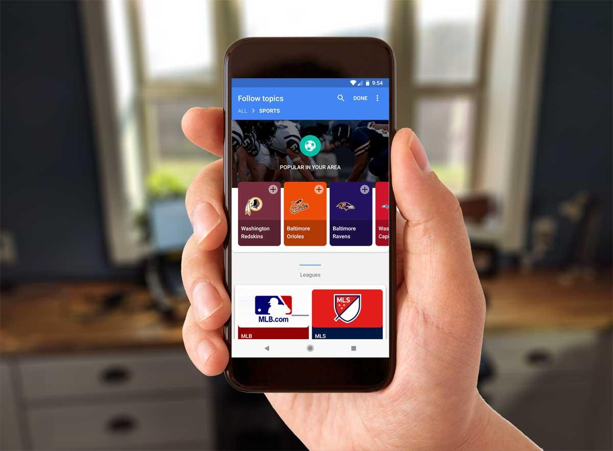 Google App Follow Topics: Sports