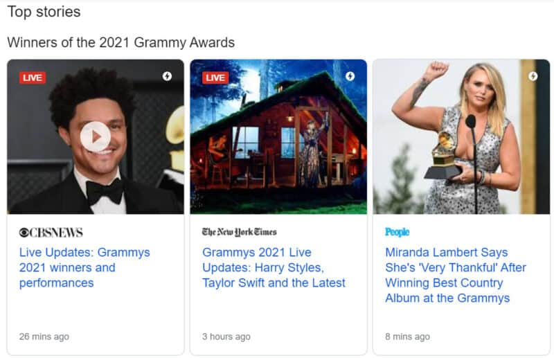Live blog entries in the Top Stories box for the Grammys 2021
