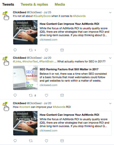 Clickseed twitter account