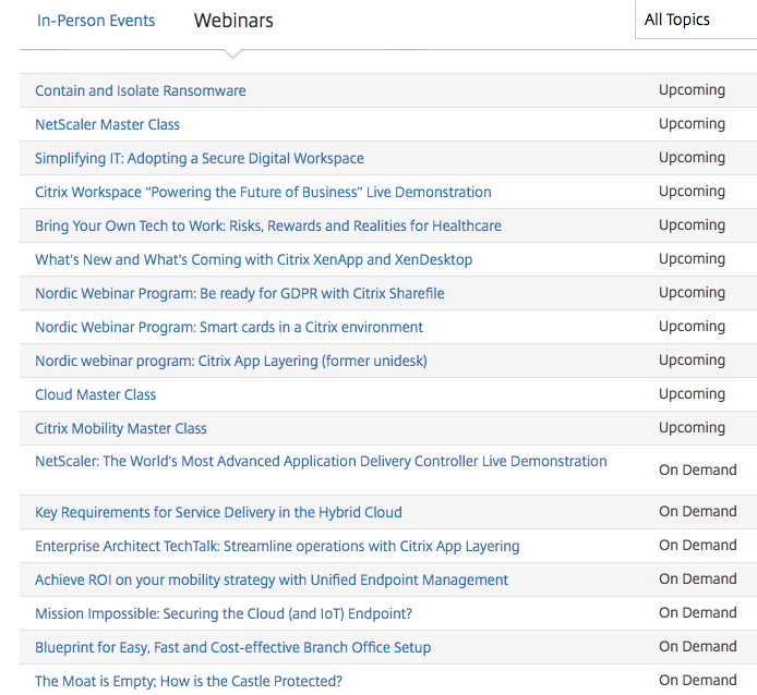 Citrix upcoming webinars for content creation and promotion.