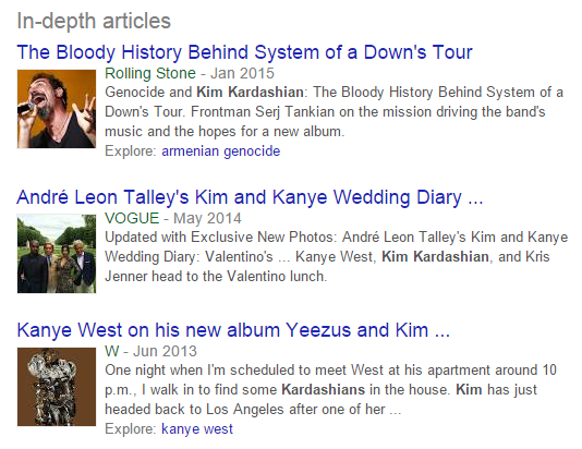 In-depth articles for Kim Kardashian (Before)