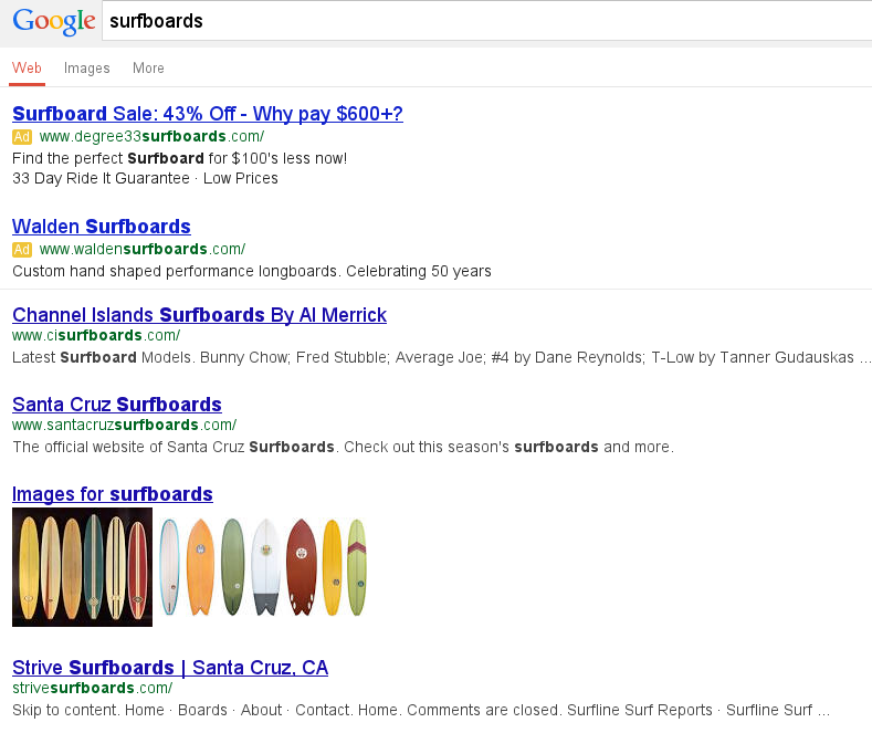 Mobile SERP for surfboards in Santa Cruz