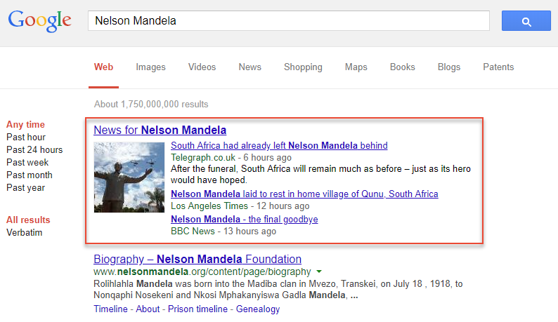 "Google ""News for ..."" Box"