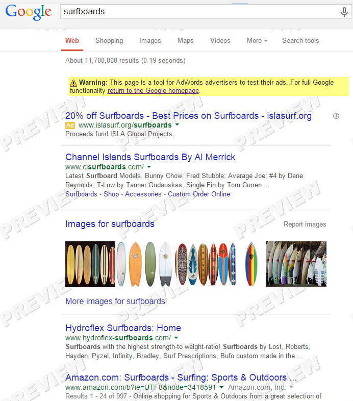 SERP for surfboards in Maui
