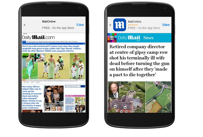 The Daily Mail mobile comparison