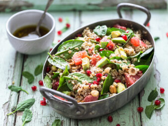 Winter Salad with Quinoa, Blood Orange, Spinach, Avocado, Pomegranate, Hazelnuts and Bulgur