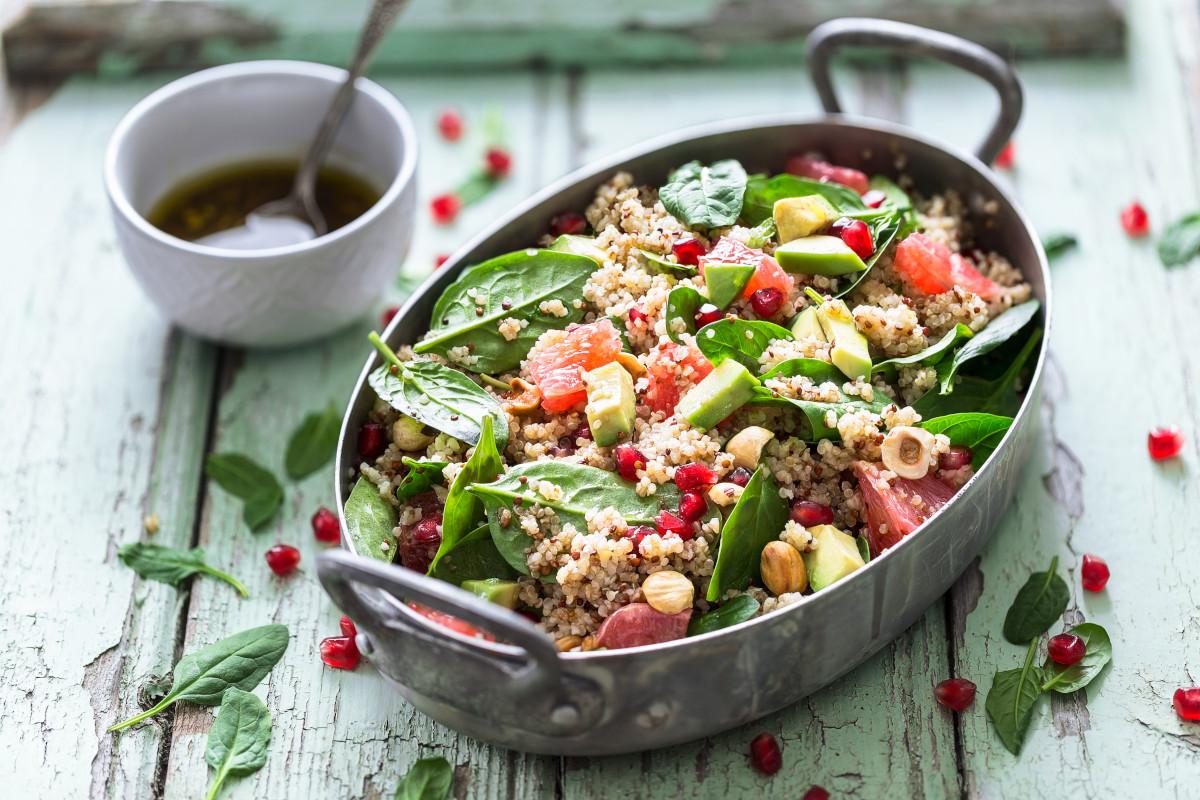 Winter Salad with Quinoa, Blood Orange, Spinach, Avocado, Pomegranate, Hazelnuts and Bulgur